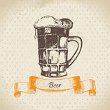 Oktoberfest vintage background with beer Stock Photo