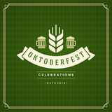 Oktoberfest vintage poster or greeting card Stock Images