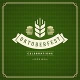 Oktoberfest vintage poster or greeting card Stock Images