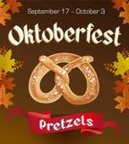 Oktoberfest vintage poster with Pretzels and autumn leaves on dark background. Octoberfest banner. Oktoberfest vintage poster with Pretzels and autumn leaves on vector illustration