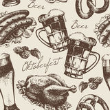 Oktoberfest vintage seamless pattern Royalty Free Stock Photos