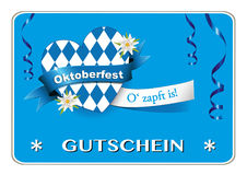 Oktoberfest voucher, coupon card, with heart and Edelweiß, Greetings to Oktoberfest, heart from Bavarian flag, Stock Images