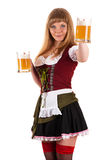 Oktoberfest waitress with a beer in hand Royalty Free Stock Photo