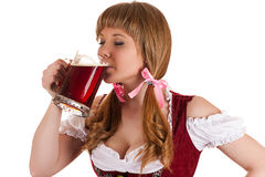 Oktoberfest waitress drinking beer Royalty Free Stock Image