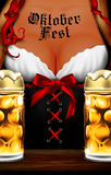 Oktoberfest waitress. Women`s festive decollete with beer bottle. S, high detailed delicious illustration Stock Photo