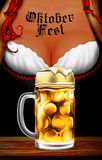 Oktoberfest waitress. Women`s festive decollete with beer bottle. S, high detailed delicious illustration Royalty Free Stock Photos