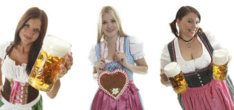 Oktoberfest waitresses. Compilation of beautiful Oktoberfest waitresses Stock Image