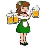 Oktoberfest woman serving beer Royalty Free Stock Image