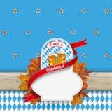 Oktoberfest Wooden Banner Emblem Beer Foliage Stock Photos