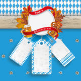Oktoberfest Wooden Banner Foliage 3 Price Stickers Stock Images