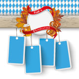 Oktoberfest Wooden Banner Foliage 4 Price Stickers Royalty Free Stock Photography