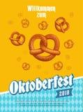 Oktoberfestaffiche met pretzels en traditionele ontwerpelementen Vector illustratie vector illustratie