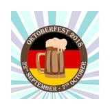 Oktoberfestconcept, een banner met een beeld van de bierbakkerij Stock Foto's