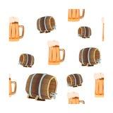 Oktoberfestconcept, naadloos patroon met bierbakkerij en biervatten op een geïsoleerde achtergrond Royalty-vrije Stock Foto