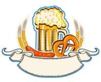 Oktoberfestsymbool met bier en traditioneel voedsel  stock illustratie