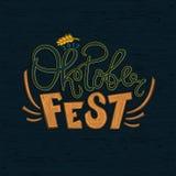 Oktoberfestviering, embleem, het Duitse Van letters voorzien Bierfestival Stock Foto
