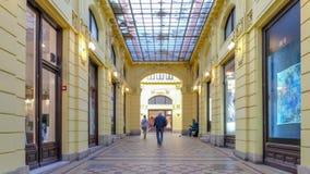 Oktogon Zagreb, Croatia. Autumn 2015. People go through passage time lapse