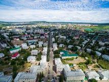 Oktyabrsky市,鸟瞰图 巴什科尔托斯坦共和国 库存图片
