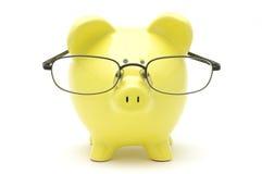 okularów bankowych świnki żółty Fotografia Royalty Free