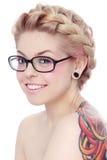 okularów dziewczyn się uśmiecha Obrazy Stock