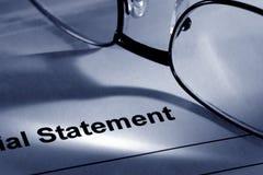 okulary oświadczenie finansowe Obraz Stock