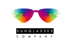 Okulary przeciwsłoneczni loga projekt Kolorowa szkło ikona royalty ilustracja