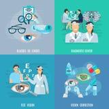 Okulistka oftalmologa 4 ikon Płaski kwadrat ilustracja wektor