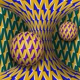 Okulistyczna ruchu złudzenia ilustracja Dwa sfery są płodozmienni poruszająca hiperboloida wokoło Abstrakcjonistyczna fantazja w  Zdjęcia Royalty Free