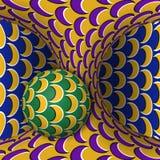 Okulistyczna ruchu złudzenia ilustracja Sfera jest płodozmienna poruszająca hiperboloida wokoło Abstrakcjonistyczna fantazja w su Obrazy Stock