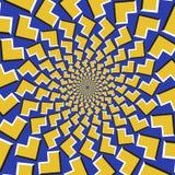 Okulistyczny ruchu złudzenia tło Żółte strzała latają oddzielnie circularly od centrum na błękitnym tle Obraz Royalty Free