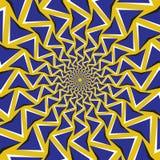 Okulistyczny ruchu złudzenia tło Błękitne strzała krążą circularly wokoło centrum na żółtym tle Fotografia Royalty Free