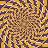 Okulistyczny ruchu złudzenia tło Purpurowi kształty latają oddzielnie circularly od centrum na żółtym tle Zdjęcie Stock