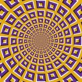 Okulistyczny ruchu złudzenia tło Purpurowi kwadraty latają oddzielnie circularly od centrum na żółtym tle Obrazy Royalty Free