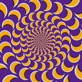 Okulistyczny ruchu złudzenia wektoru tło Żółty półksiężyc kierdel wpólnie circularly centrum na purpurowym tle Zdjęcia Stock
