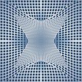 Okulistyczny sztuki tło z 3d złudzeniem, szpotawa metal siatka na błękitnym terenie ilustracja wektor