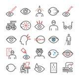 Okulistyki kreskowa ikona Klinik ikony Oko znaki również zwrócić corel ilustracji wektora royalty ilustracja