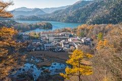 Okunikko en Yuno-meer in de herfstseizoen Royalty-vrije Stock Fotografie