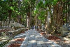 Okunoin tempel med kyrkogårdområde på Koyasan (Mt Koya) i Wakayama arkivbild