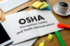 Okupacyjnego bezpieczeństwa i zdrowie administraci OSHA biznes zespala się obraz stock