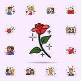 okwitnięcie, dekoracja, kwiecista, różana ikona, Og?lnoludzki ustawiaj?cy historia mi?osna dla strona internetowa projekta i rozw royalty ilustracja