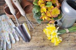 okwitnięcie kwiaty rozwidlają frontową ogrodnictwa rydla narzędzi kielnię Zdjęcia Royalty Free