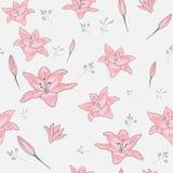 Okwitnięcie kwiecisty bezszwowy wzór Leluja kwitnie z gałąź i liście rozpraszali przypadkowego Modna abstrakcjonistyczna wektorow royalty ilustracja