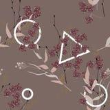 Okwitnięcie kwiecisty bezszwowy wzór ornamentu geometryczne tła księgi stary rocznik wally Kwitnący realistyczni odosobneni kwiat ilustracji