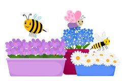 Okwitnięcie kwitnie w garnkach i ślicznych kreskówka insektach - wiosna, lato wektorowa kwiecista ilustracja royalty ilustracja