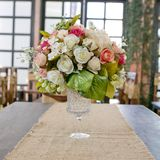 Okwitnięcie róża umieszczająca na biurku wewnątrz je obiad pokój Fotografia Stock