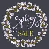 Okwitnięcia drzewa wiosny i ramy literowanie Obrazy Royalty Free
