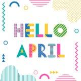 Olá! abril Fonte geométrica na moda no estilo de memphis de 80s-90s ilustração do vetor