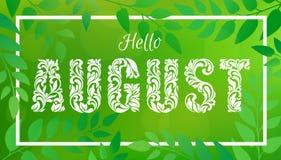 Olá! august Fonte decorativa feita nos redemoinhos e em elementos florais Imagens de Stock Royalty Free