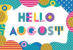 Olá! august Fonte geométrica na moda no estilo de memphis de 80s-90s Fotos de Stock