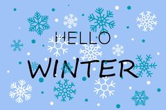 Olá! bandeira azul do inverno com flocos de neve ilustração royalty free